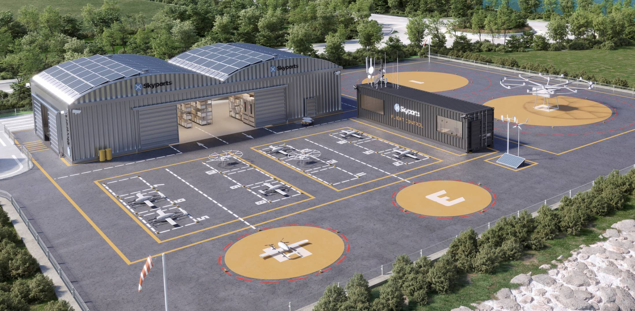 artist rendering of planned vertiport at Shannon Airport