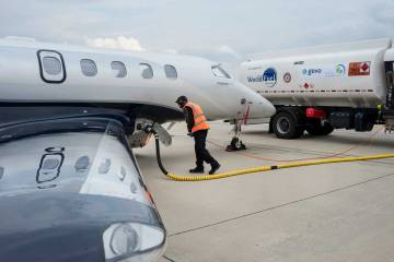 business jet being refueled with SAF