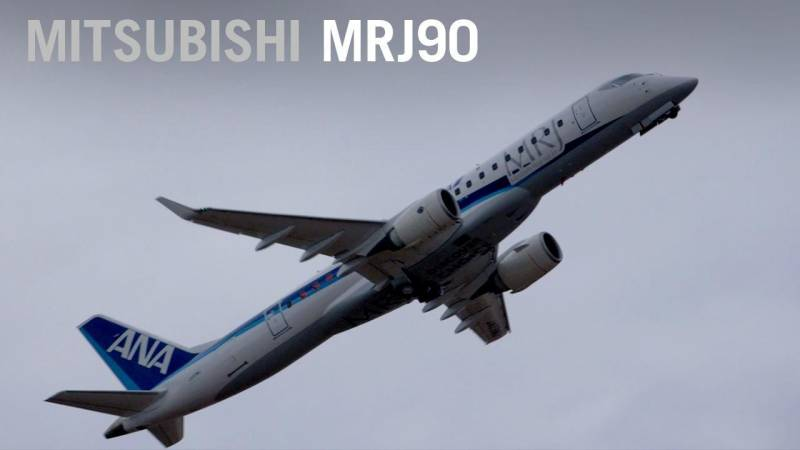 Mitsubishi MRJ Airliner Flies For Farnborough Airshow Crowds